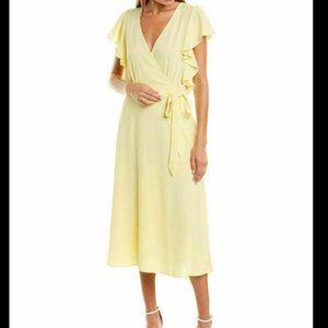 1.State Women's Yellow Ruffled Faux Wrap Dress NWT